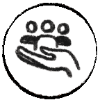 Icon with a hand and people representing service