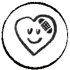 Icon with a heart representing forgiveness