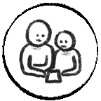 Icon with people representing learning